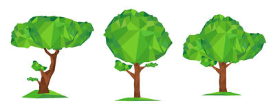 Polygon green tree. Conceptual vector illustration low poly style. Set of geometric polygon green tree  on white background. Stylized design element Stock Images