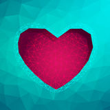 Polygon Heart.Abstract love vector illustration. Background Stock Image