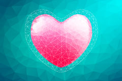 Polygon Heart.Abstract love vector illustration. Background Royalty Free Stock Image