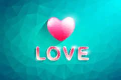 Polygon Heart and Love Text.Abstract love  illustration. Background Stock Photo