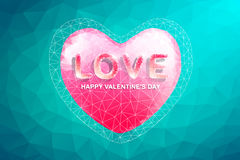 Polygon Heart and Love Text.Abstract love valentine's day Royalty Free Stock Photo