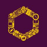 Polygon icon. Illustration of the polygon with icons composition Royalty Free Stock Photos