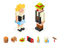 Polygon icons set oktoberfest isometric 3d  man Stock Image