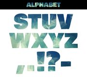 Polygon insulated colorful alphabet font style. Vector illustration in marine summer style. Part 3 Royalty Free Stock Images
