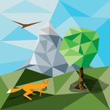Polygon landscape background. Polygon shaped landscape image with fox, tree and mountain Royalty Free Stock Photos