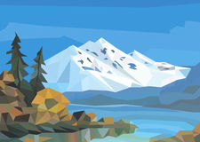 Polygon landscape. ice mountains, lake and trees. Stock Photos