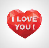 Polygon logo mark icon in the form of the heart with the phrase. I love you Royalty Free Stock Images