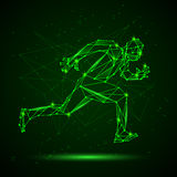 Polygon mesh silhouette of running man. Stock Photography