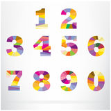 Polygon number alphabet colorful font style Royalty Free Stock Photo