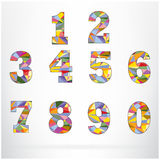Polygon number alphabet colorful font style. Stock Photography