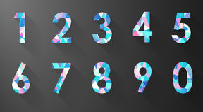 Polygon number set on black background Stock Photos