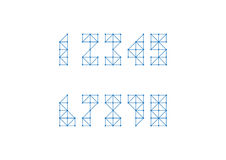 Polygon Number set. Blue Triangle line and dot component number set Vector Illustration