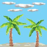 Polygon palms on landscape and clouds Royalty Free Stock Photo
