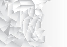 Polygon pattern abstract background, white and grey theme. Vector, illustration, copy space for text on the right side Royalty Free Stock Image