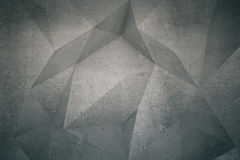 Polygon pattern on wall. Abstract polygon patterned dark concrete wall. Mock up, 3D Rendering Royalty Free Stock Photo