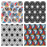 Polygon Patterns. Abstract triangle/polygon repeat patterns in different colors, can be tiled seamlessly stock illustration