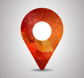 Polygon pin with map icon vector. 2d travel and navigation planning, concept for your design Stock Images
