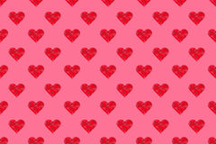 Polygon pink hearts pattern seamless on pink background Stock Image