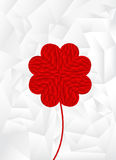 Polygon red heart arrange in flower shape with white background Royalty Free Stock Photos
