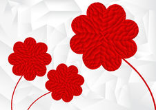 Polygon red heart arrange in flower shape with white background Stock Photo