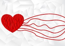 Polygon red heart icon with white polygon background, vector Royalty Free Stock Photo