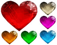 Set of glass hearts polygon Stock Photography