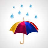 Polygon set of umbrella and rain drops for weather forecast blue.  vector illustration
