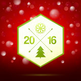 Polygon shape label with 2016 Christmas drawing elements  Royalty Free Stock Photos