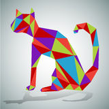 Polygon Sitting Cat Stock Image