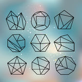 Polygon style with geometric shapes in retro style. Stock Images