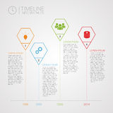 Polygon timeline infographics design template with icons. Vector illustration Royalty Free Stock Photography