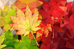 Polygon vector colored leaves Stock Images