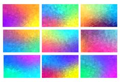Polygon vector mosaic backgrounds set, colorful abstract patterns, illustration. Polygon vector mosaic backgrounds set, colorful abstract patterns, vector Royalty Free Stock Photos