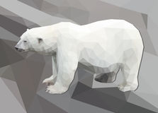 Polygon white polar bear  on large polygon background Royalty Free Stock Photo
