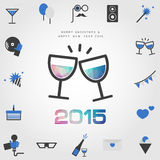 Polygon wine glass & 2015 merry christmas and happy new year wit. H party icon vector Stock Images