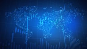 Polygon world map hud background with bull stock chart. Royalty Free Stock Photo
