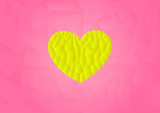 Polygon yellow heart icon with pink background. Vector, illustration, copy space for text Royalty Free Stock Image