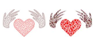 Polygonal αγάπη πλέγματος σφαγίων χειροποίητα και εικονίδιο μωσαϊκών διανυσματική απεικόνιση