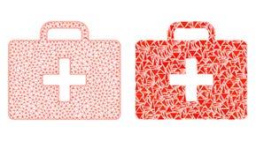 Polygonal 2$α περίπτωση εξαρτήσεων πλέγματος ιατρικά και εικονίδιο μωσαϊκών διανυσματική απεικόνιση