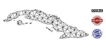 Polygonal διανυσματικός χάρτης πλέγματος δικτύων των γραμματοσήμων Grunge της Κούβας και δικτύων διανυσματική απεικόνιση