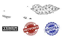 Polygonal διανυσματικός χάρτης πλέγματος σφαγίων των γραμματοσήμων Grunge αρχιπελαγών και δικτύων Socotra απεικόνιση αποθεμάτων