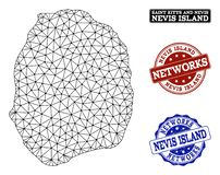 Polygonal διανυσματικός χάρτης πλέγματος πλαισίων καλωδίων των γραμματοσήμων Grunge νησιών και δικτύων Nevis ελεύθερη απεικόνιση δικαιώματος