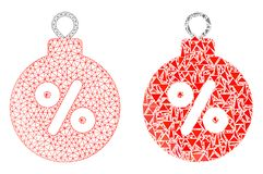 Polygonal σφαίρα έκπτωσης Χριστουγέννων πλέγματος δικτύων και εικονίδιο μωσαϊκών ελεύθερη απεικόνιση δικαιώματος