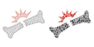Polygonal σπάσιμο κόκκαλων πλέγματος σφαγίων και εικονίδιο μωσαϊκών ελεύθερη απεικόνιση δικαιώματος