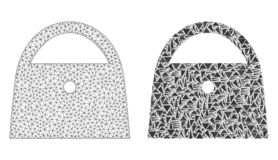 Polygonal πλέγμα σφαγίων κυρία Bag και εικονίδιο μωσαϊκών διανυσματική απεικόνιση