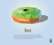 Polygonal απεικόνιση PrintVector doughnut με την πράσινη κρέμα στο τοπ, σύγχρονο σχέδιο εικονιδίων τροφίμων Στοκ Φωτογραφία