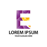 Polygonal αρχικό Ε με το λογότυπο Στοκ φωτογραφία με δικαίωμα ελεύθερης χρήσης