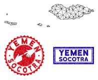 Polygonal γραμματόσημα χαρτών και Grunge αρχιπελαγών Socotra σφαγίων διανυσματική απεικόνιση