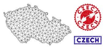 Polygonal γραμματόσημα χαρτών και Grunge δικτύων τσεχικά απεικόνιση αποθεμάτων