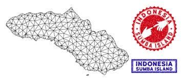 Polygonal γραμματόσημα χαρτών και Grunge νησιών Sumba πλέγματος απεικόνιση αποθεμάτων